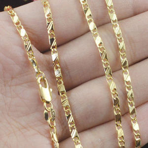 Jewelry - 2mm 18k Gold Plated Plain Chain Link Necklace